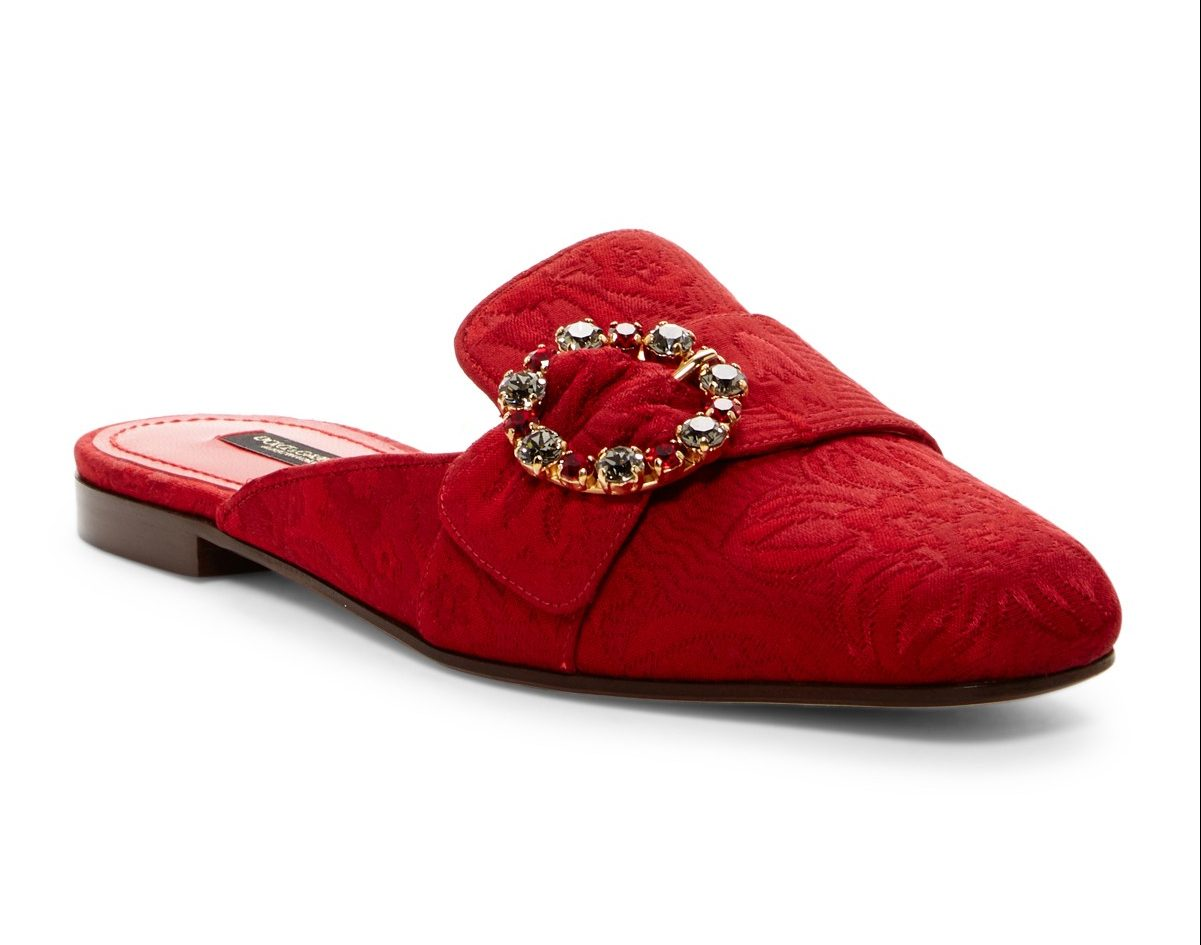 Dolce & Gabbana red brocade mules with embellished buckle