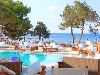 Ibiza yachts and beach pool party in the Balearic Islands