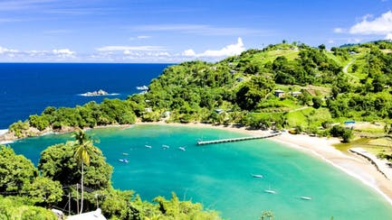 Trinidad & Tobago luxury yachts for charter near private island in Caribbean