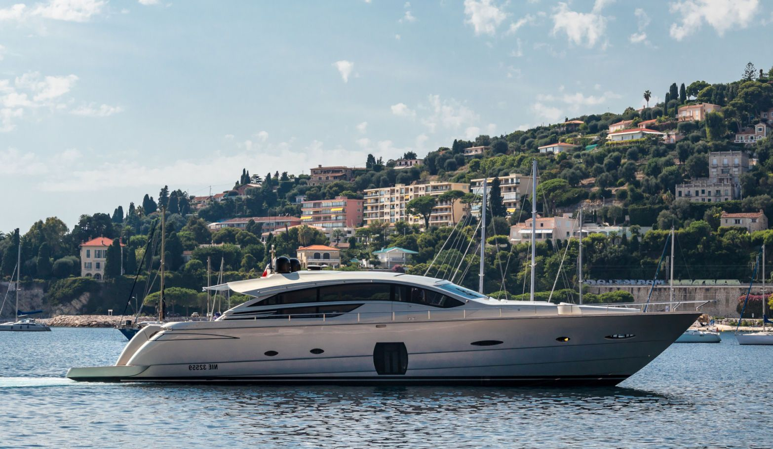 Lounor Pershing 80 (24.5m) yacht for Sale at anchor in Mediterranean