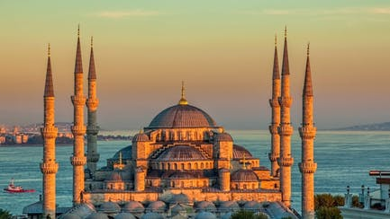 istanbul turkey blue mosque overlooking ocean and yachts
