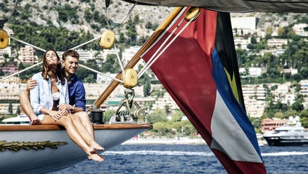 Couple onboard classic sailing superyacht