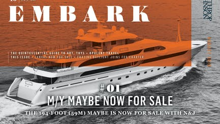 Main Embark image featuring a superyacht for sale while underway