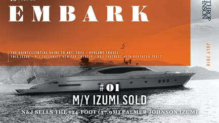 Main Embark image featuring a superyacht for sale while at anchor