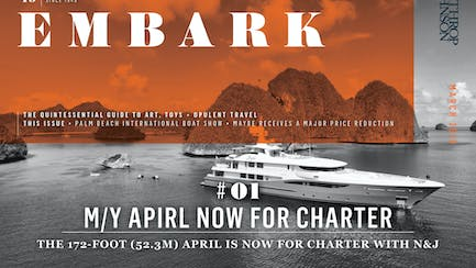 Main Embark image featuring a superyacht for charter at anchor