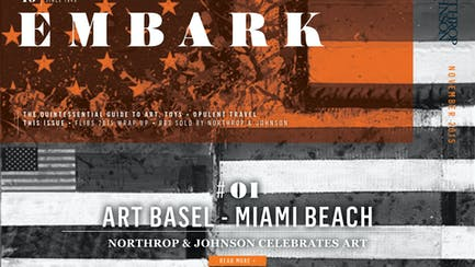 Main Embark image featuring a painting of a US flag by Bernie Taupin