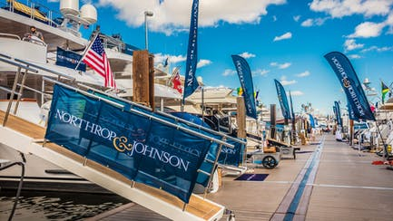 Yachts for sale and charter with Northrop & Johnson flags
