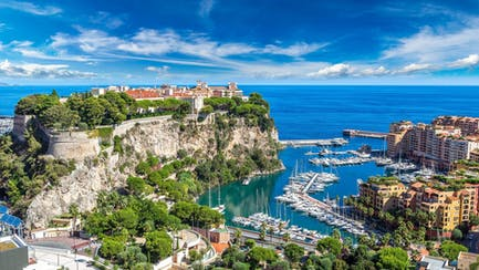 aerial view of Monaco Monte Carlo luxury yachts for sale and charter