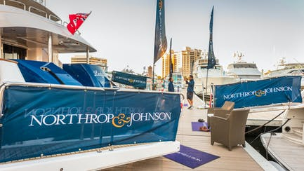 Palm Beach International Boat Show Photo dock with banners