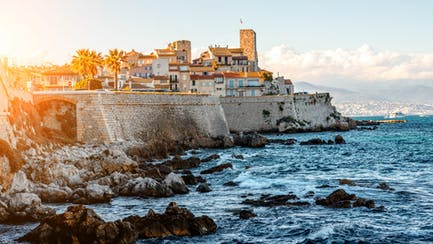 old town Antibes overlooking luxury superyacht marina on the French Riviera