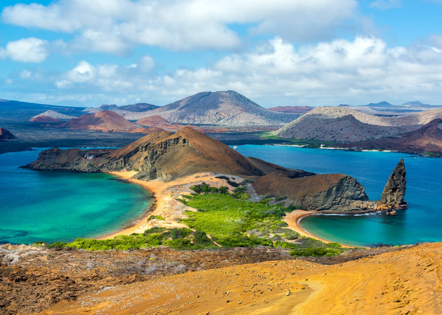 Panoramic view of Bartolome Island in the Galapagos
