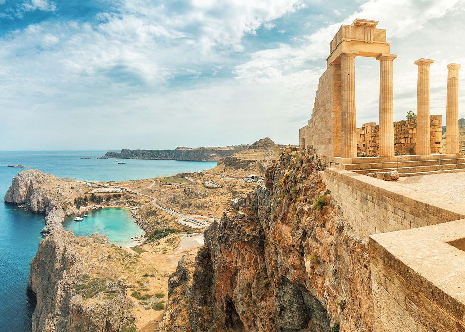 Dodecanese yacht charter view of acropolis in rhodes island greece