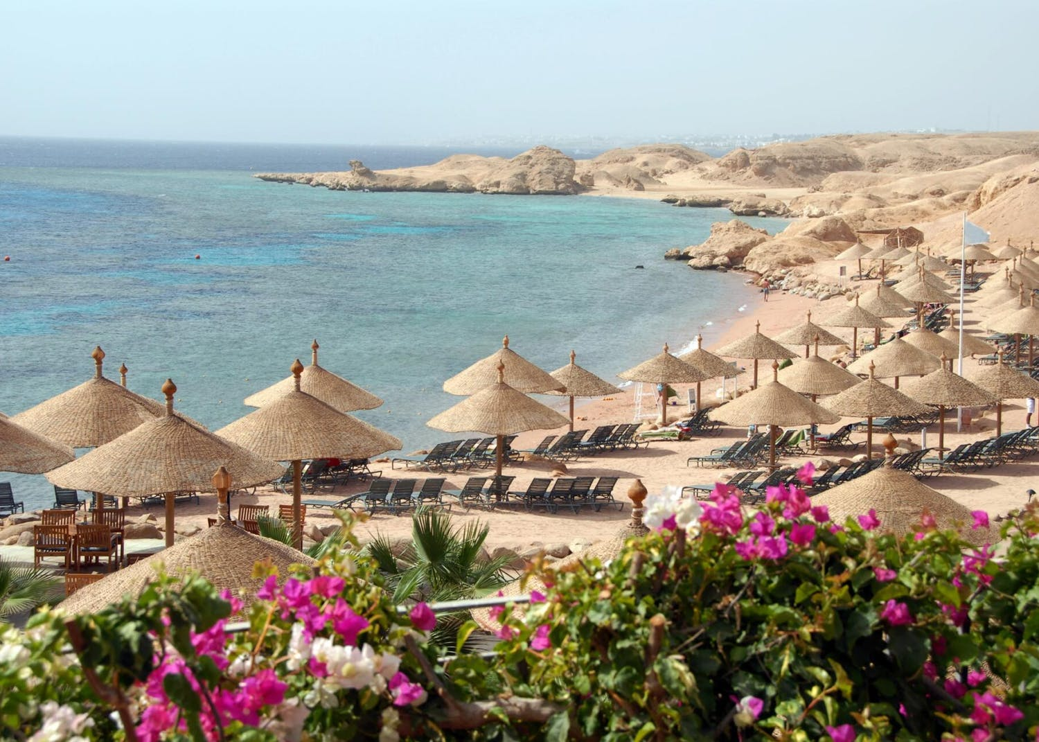 view of Red Sea yacht charter from the Sharm El-Sheikh beach in Egypt