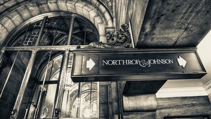 Vintage detail photo of Northrop & Johnson sign in New York