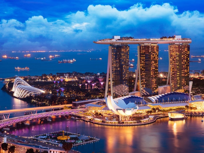 luxury yacht charter view of Singapore Skyline at night