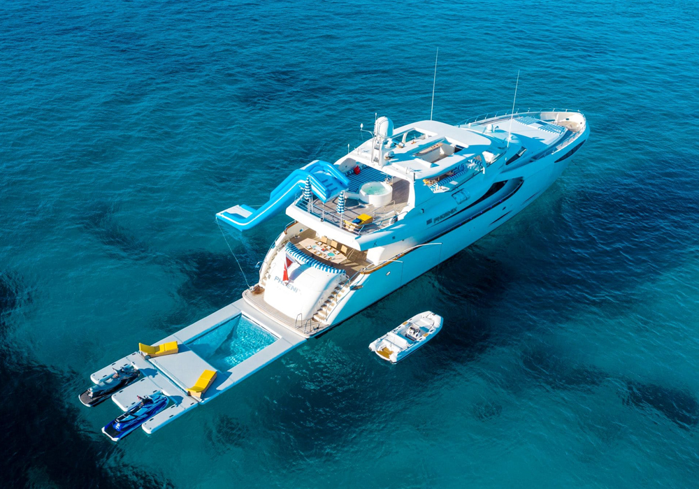 Charter yacht Phoenix with her all her toys out