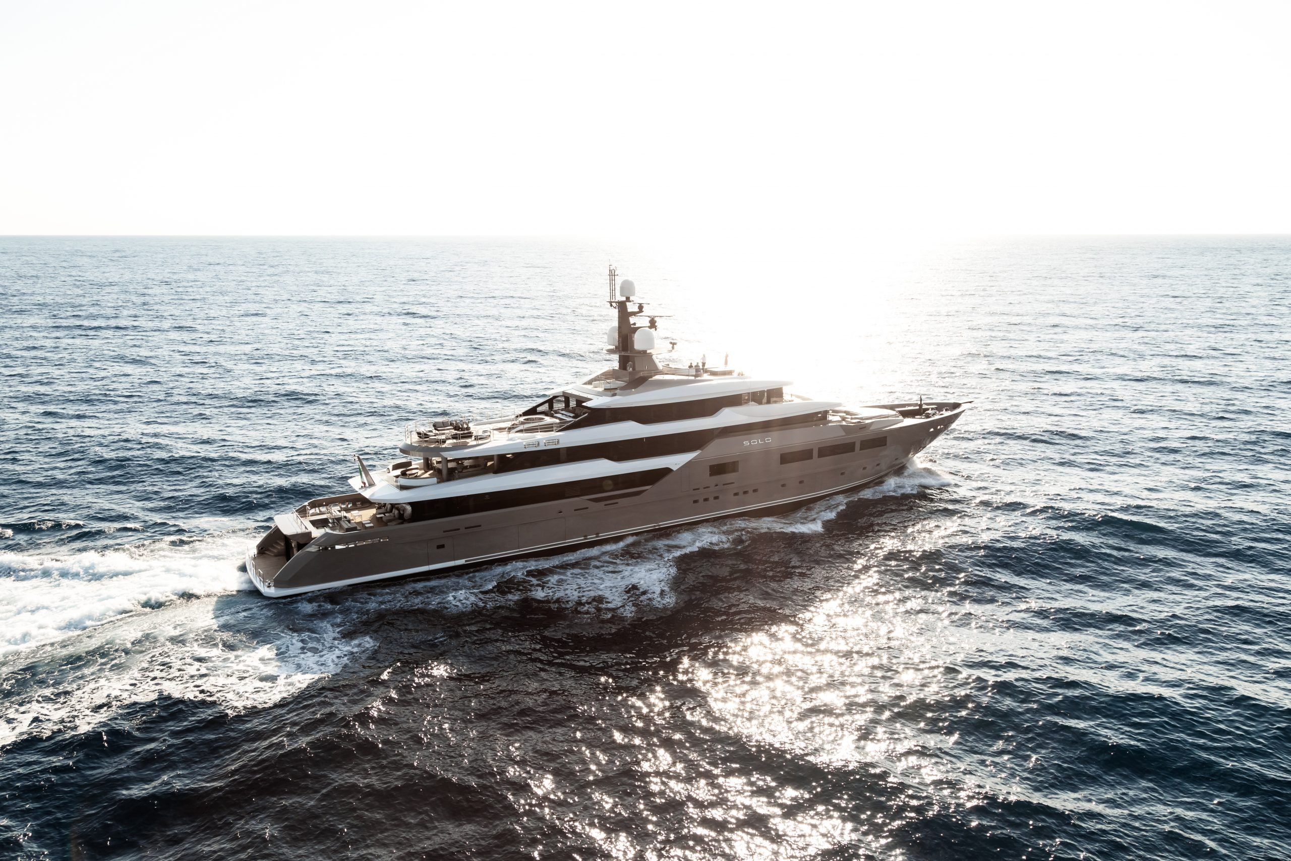 SOLO Mediterranean luxury yacht for sale and charter near sunset in French Riviera