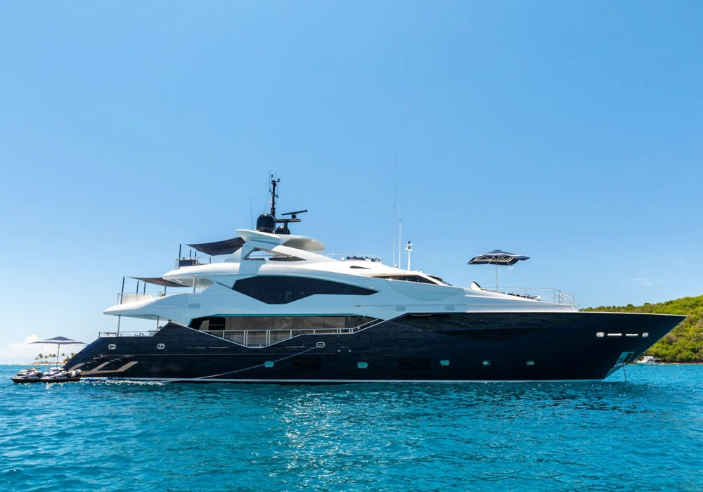 Charter Yacht Take 5 at anchor in the Bahamas