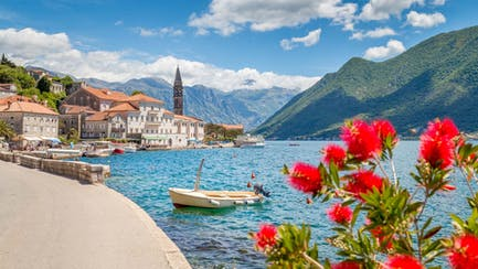 scenic view of Montenegro Yacht Charter in Perast Bay of Kotor along East Mediterranean sea