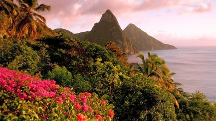 luxury villa view of private superyacht and Twin Pitons in St. Lucia