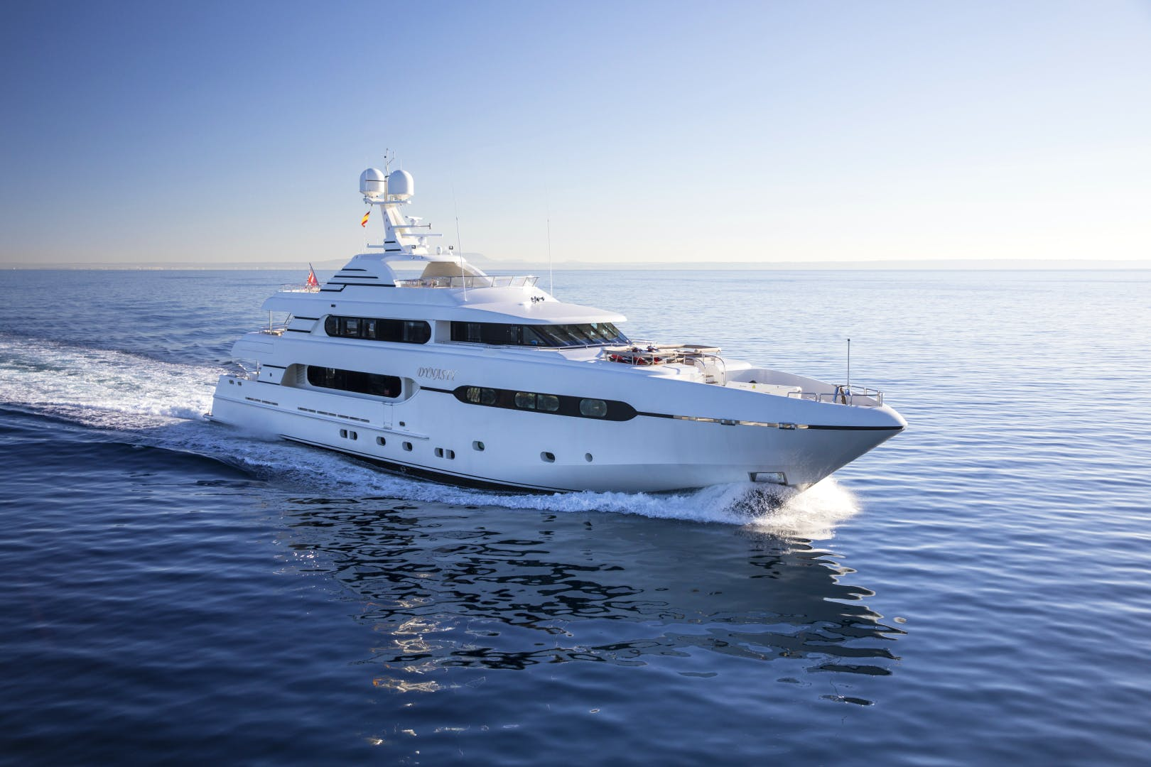 Sunrise superyacht for sale DYNASTY running profile in the mediterranean