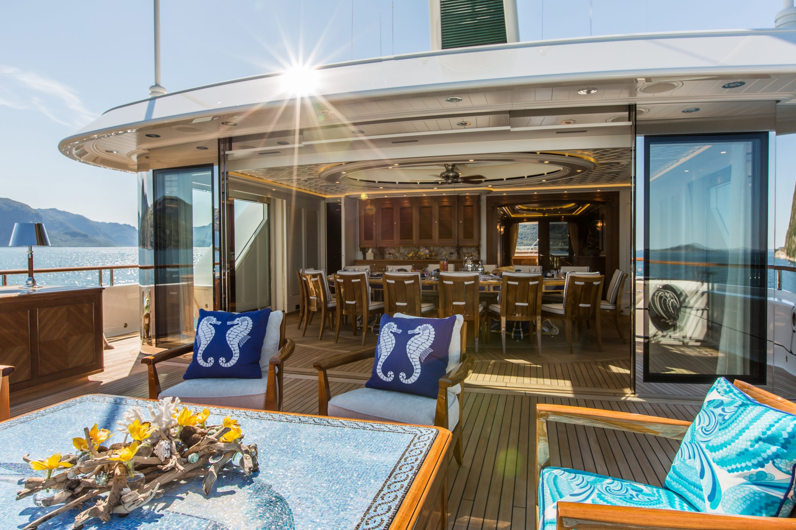 Feadship yacht for sale Sea Owl outdoor dining