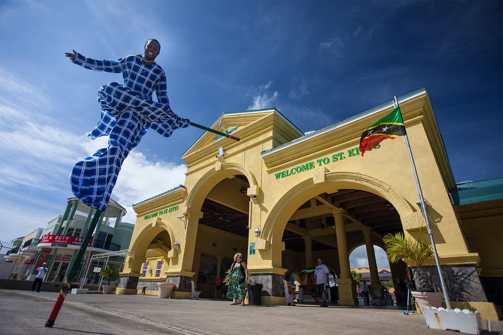 Shopping meets street performing at Basseterre's Port Zante cruise terminal