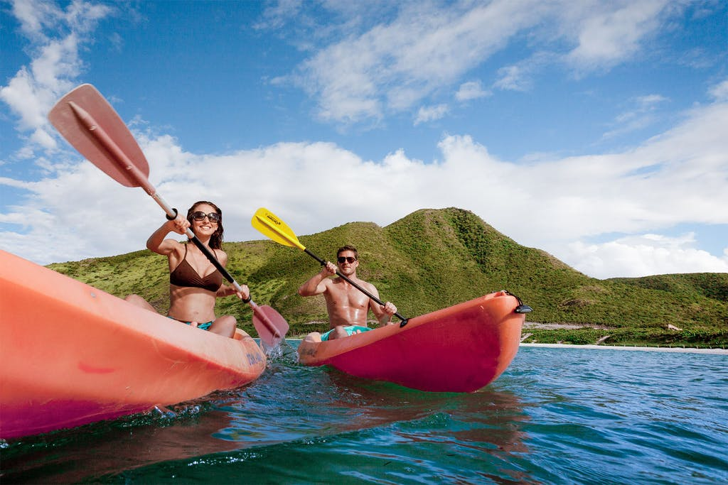 Kayaking on calm St. Kitts waters