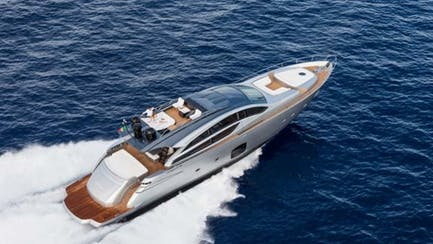 Pershing 82 yacht for sale running aerial profile