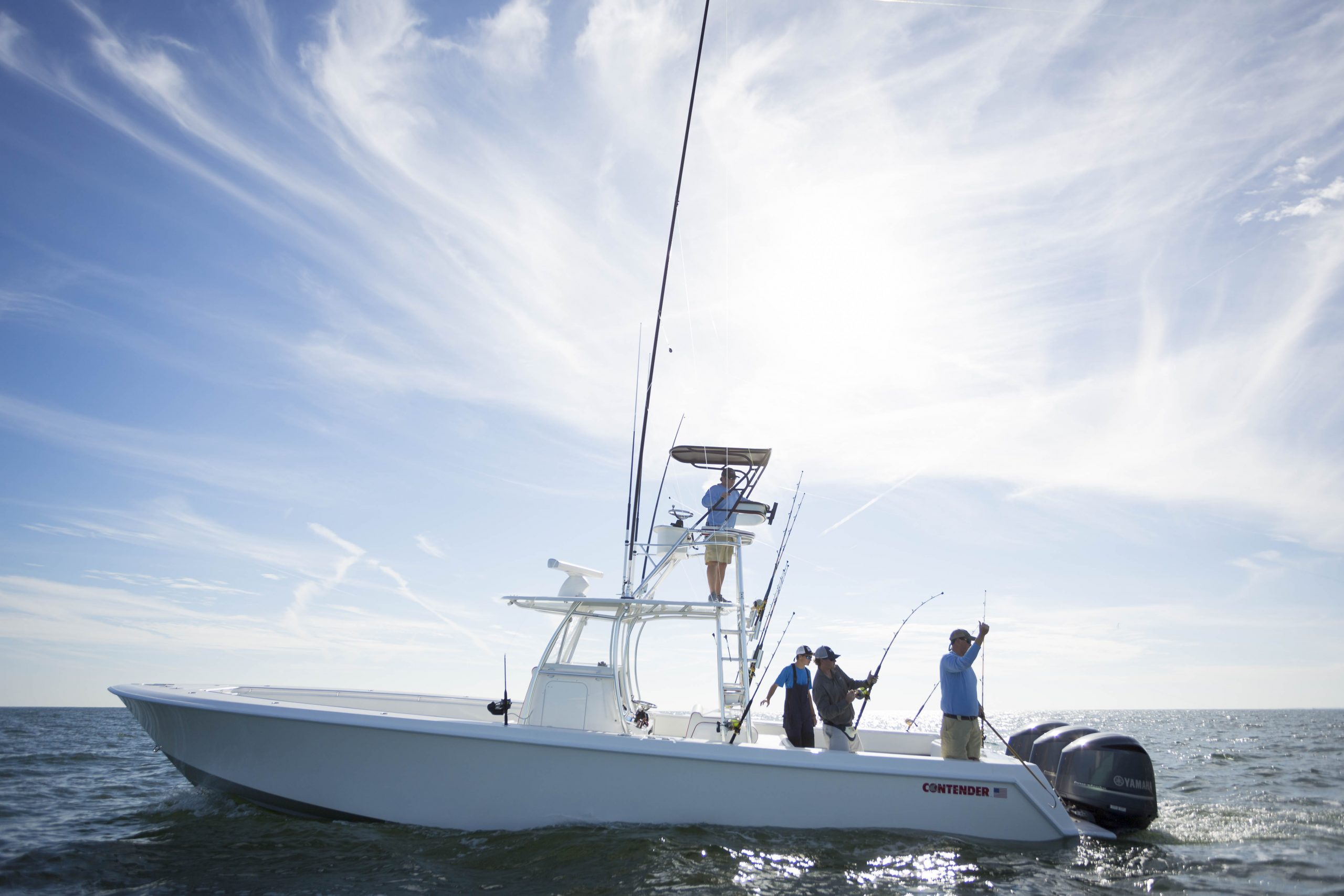 men fishing on a Contender center console out of Sea Island