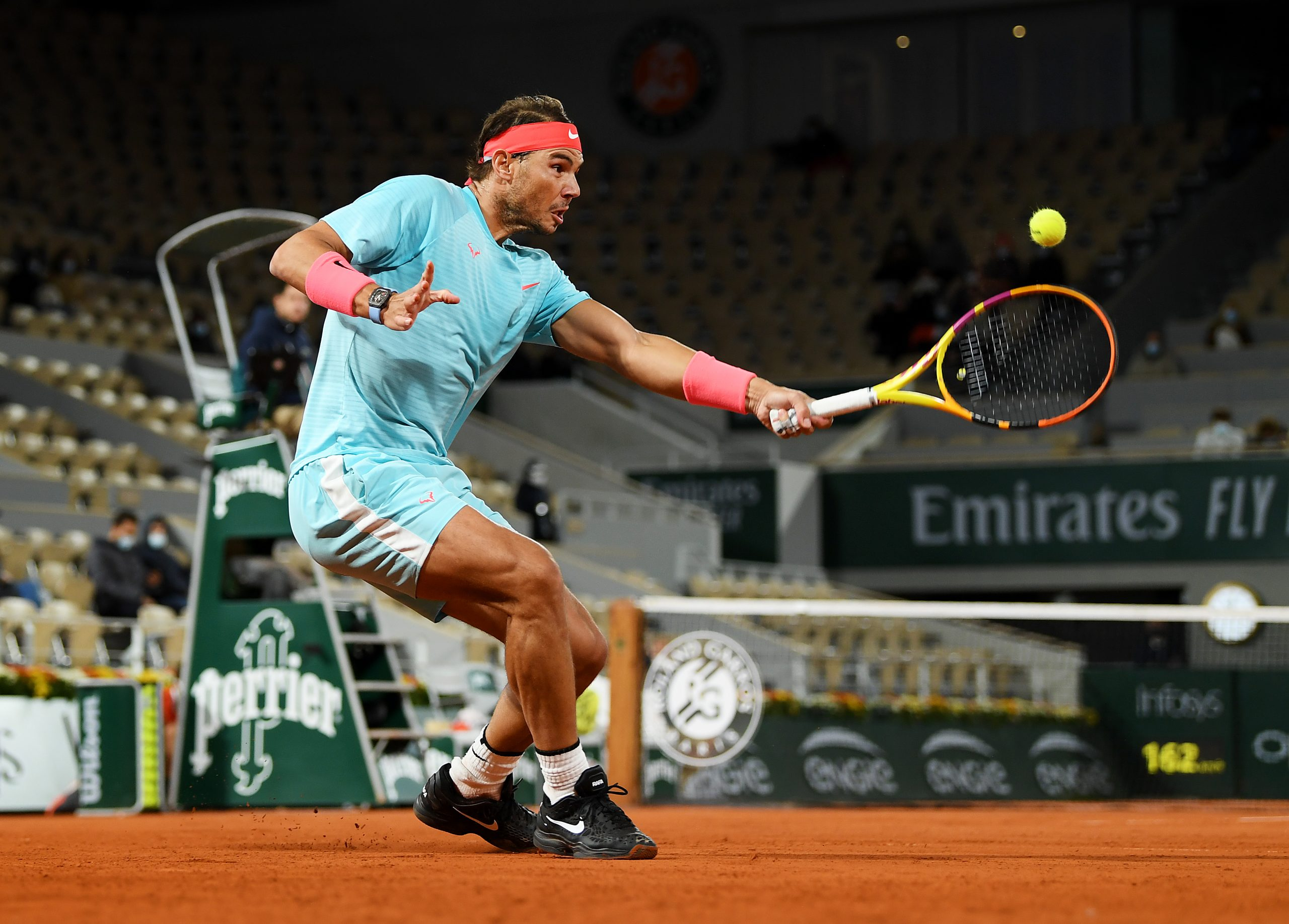 PARIS, FRANCE - OCTOBER 06: Rafael Nadal of Spain plays a backhand during his Men's Singles quarterfinals match against Jannik Sinner of Italy on day ten of the 2020 French Open at Roland Garros on October 06, 2020 in Paris, France. (Photo by Shaun Botterill/Getty Images)