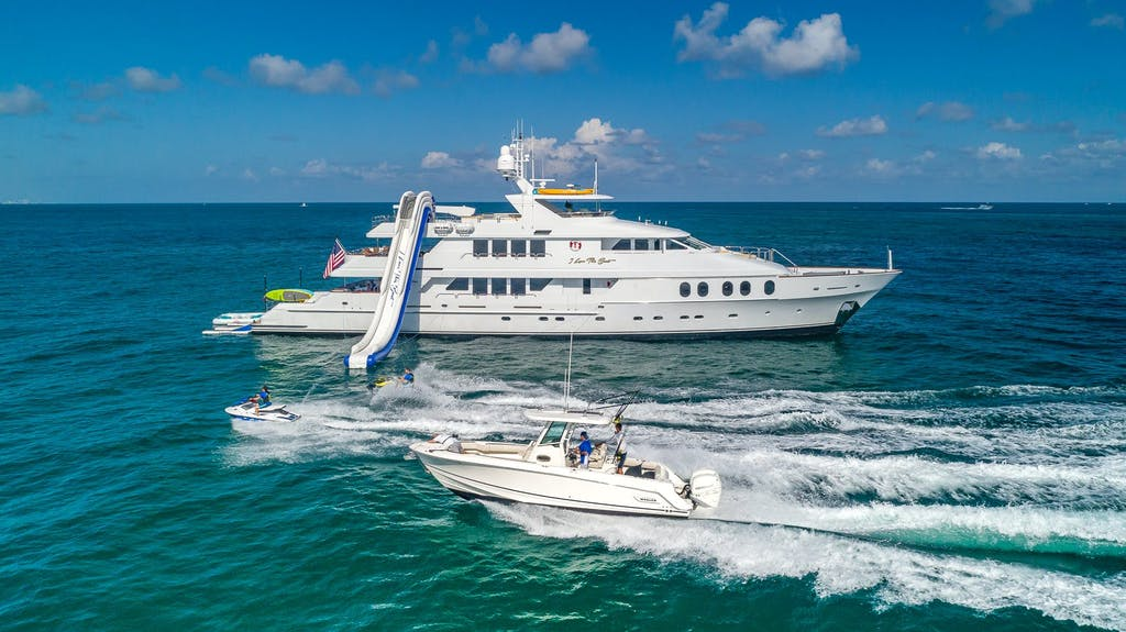 Christensen Charter Yacht I LOVE THIS BOAT profile with Boston Whaler tender and a WaveRunner