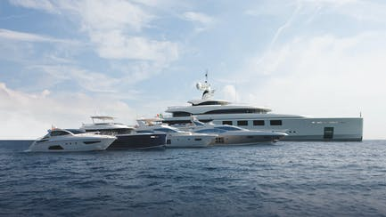 Benetti yacht sales fleet at anchor in United States