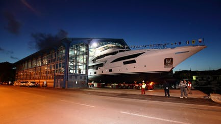 Benetti yacht new build at shipyard launch in Italy