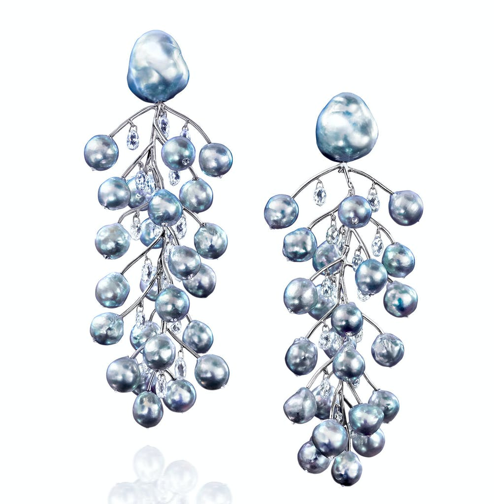 Silverly blue pearl and diamond earrings with briolettes hanging on platinum branches designed by Assael
