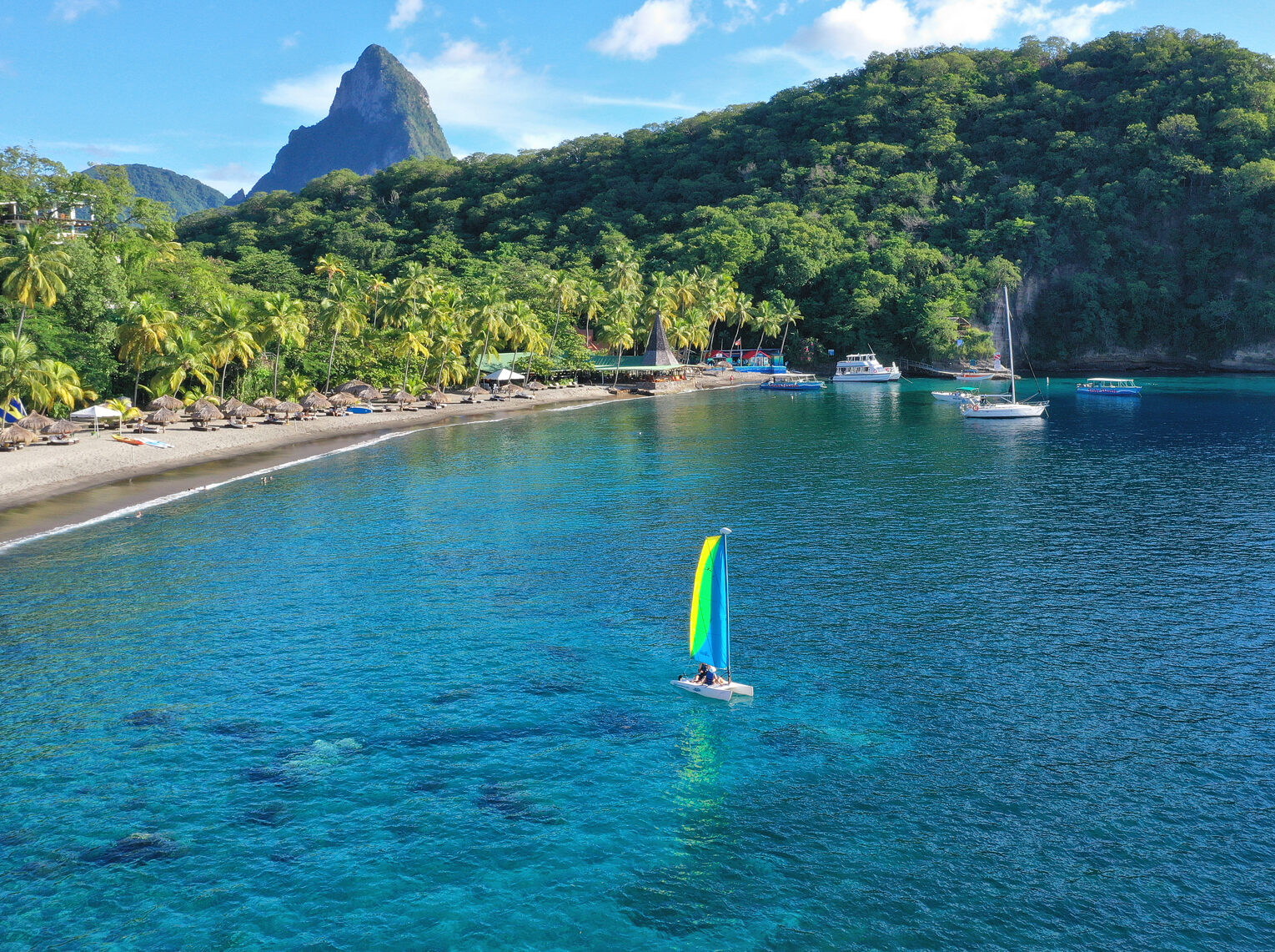 Small sailboat in a bay in St Lucia