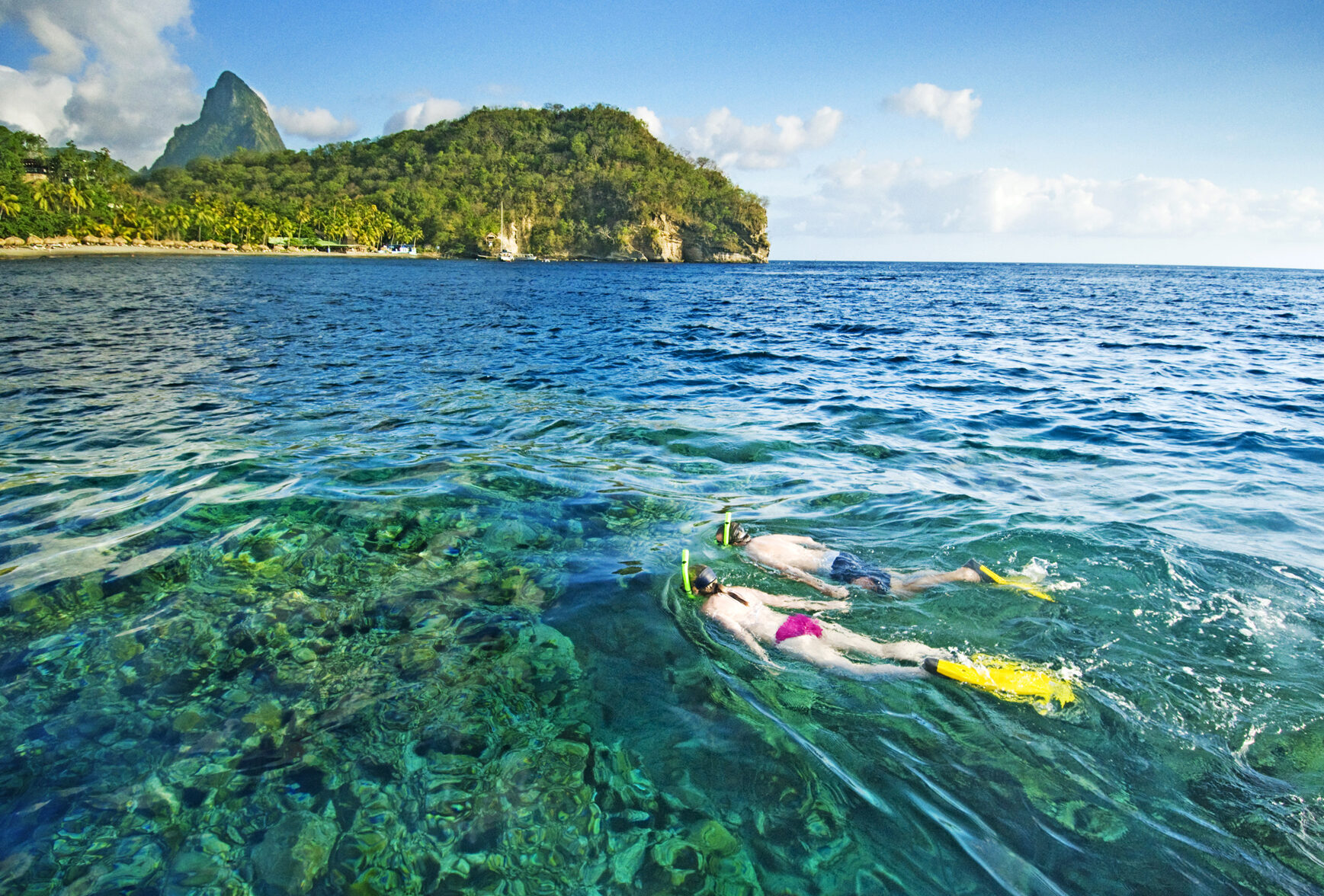 Two people snorkeling off Jade Mountain in St Lucia