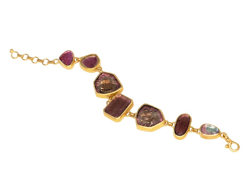 24kt gold bracelet with mixed sizes of watermelon tourmaline slices and rose cut pink tourmalines by Gurhan
