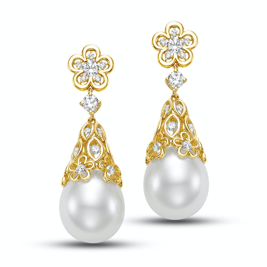 Pearl drop earrings with gold floral motifs flashing with white round diamonds by Mastoloni