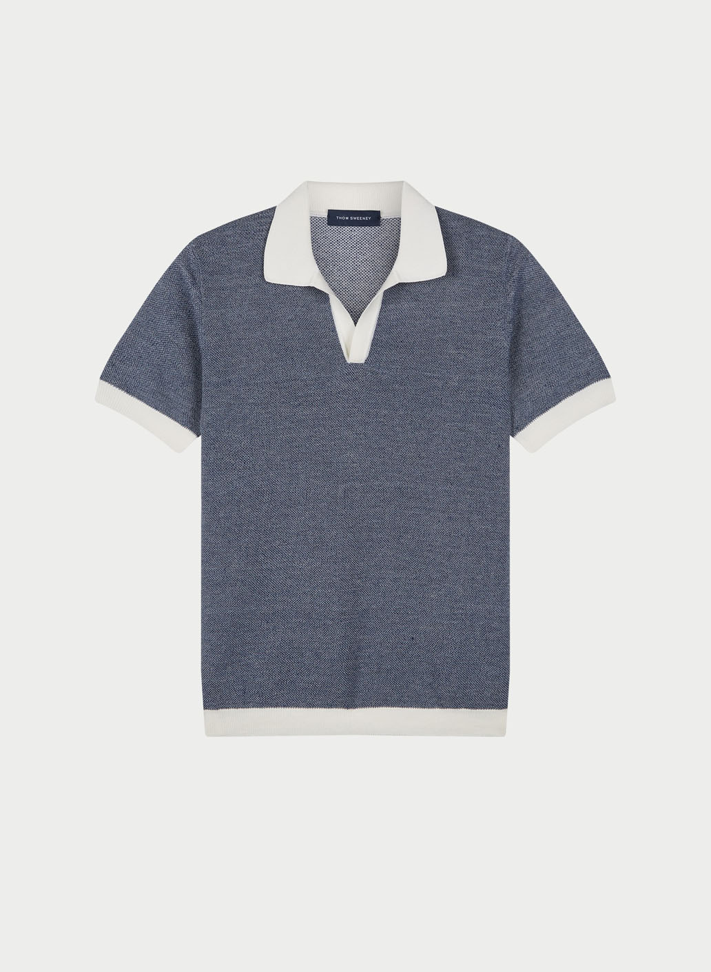 Mens Contrast Knitted Polo Shirt