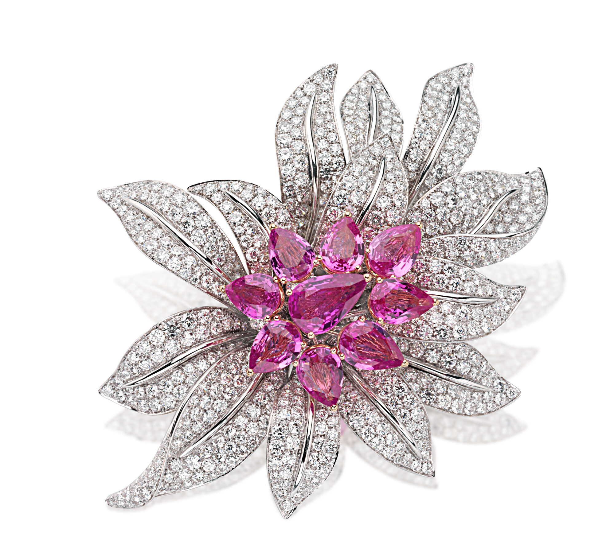 floral brooch with round diamonds and pear-shaped pink sapphires by Picchiotti