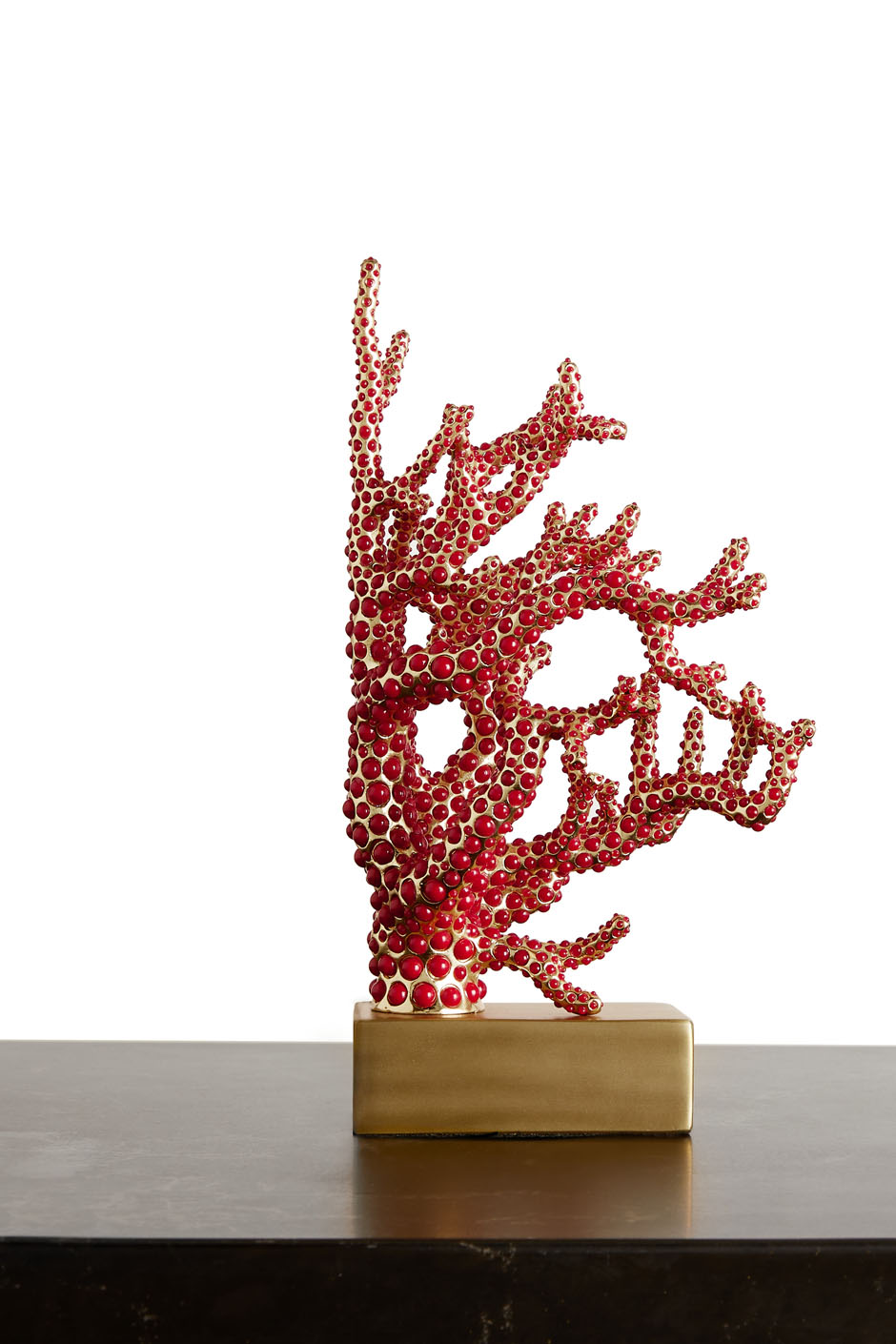 CORAL BOOKEND - RED AND GOLD PLATED CORAL BOOKEND