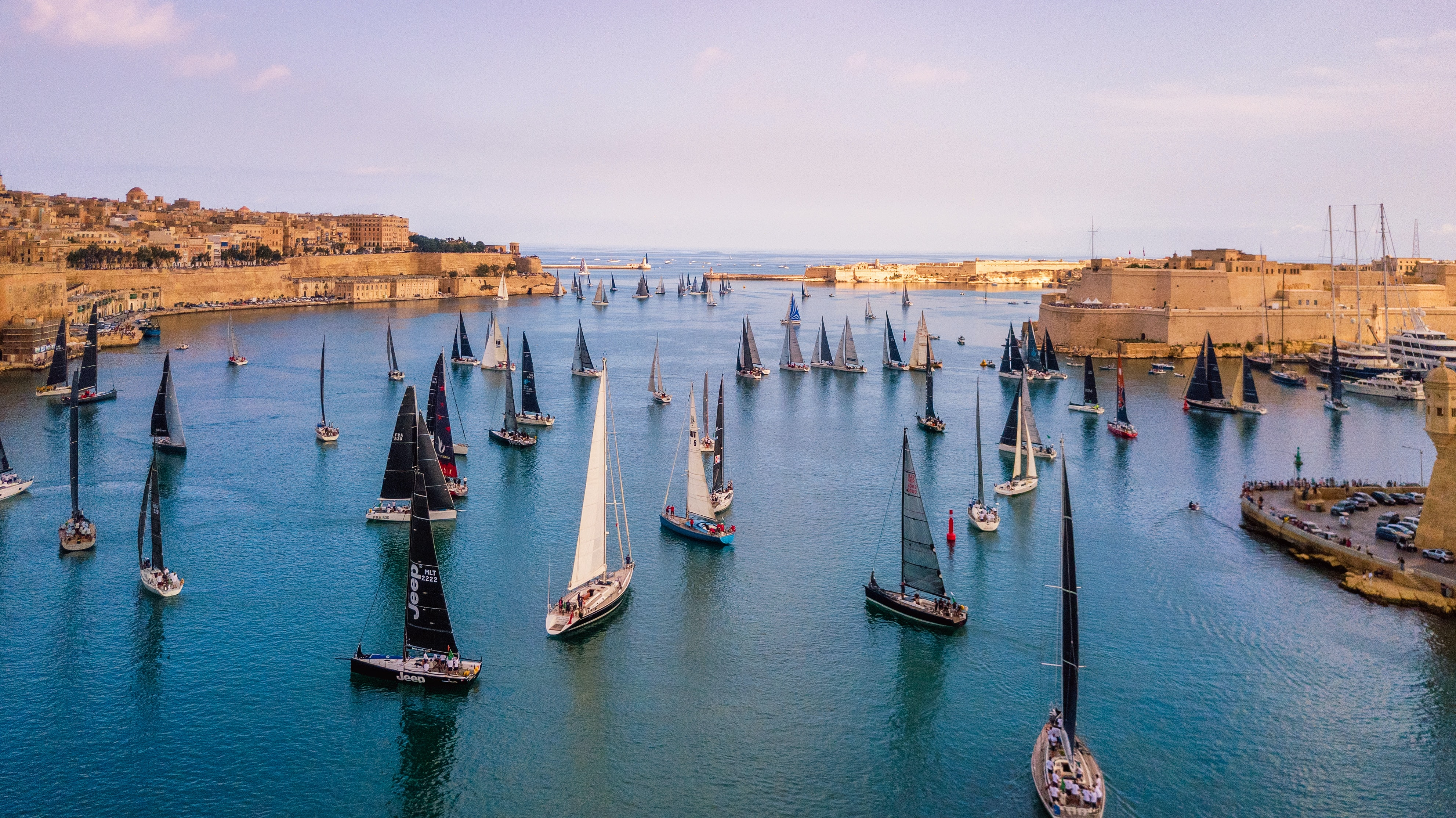 Sailing yachts in a harbor of Malta