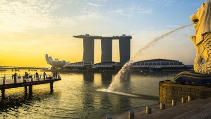 Singapore superyacht charter view overlooking downtown at sunset