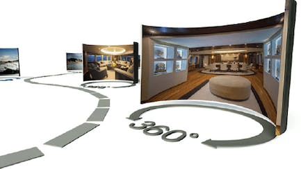 Interior of yachts for sale and charter over a curved screen representing a 360 degree view