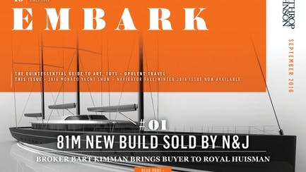 Main Embark image featuring a rendering of a sailing superyacht