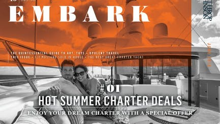 Main Embark image featuring a couple relaxing on board a charter yacht