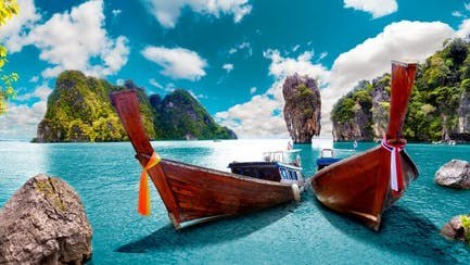 Panoramic view of Thai exotic coast