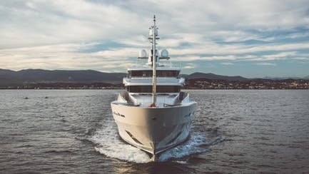 Luxury superyacht bow cruising the mediterranean