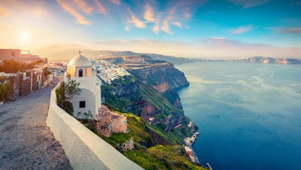 Dramatic coastline of Santorini